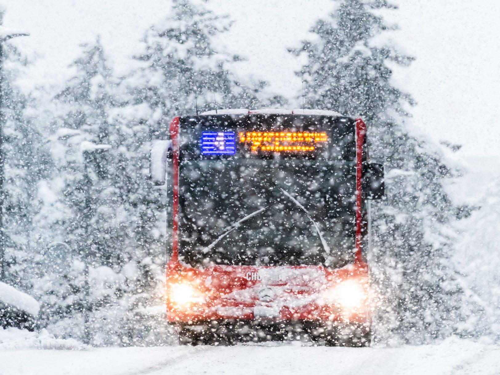Chur Bus im Schneetreiben