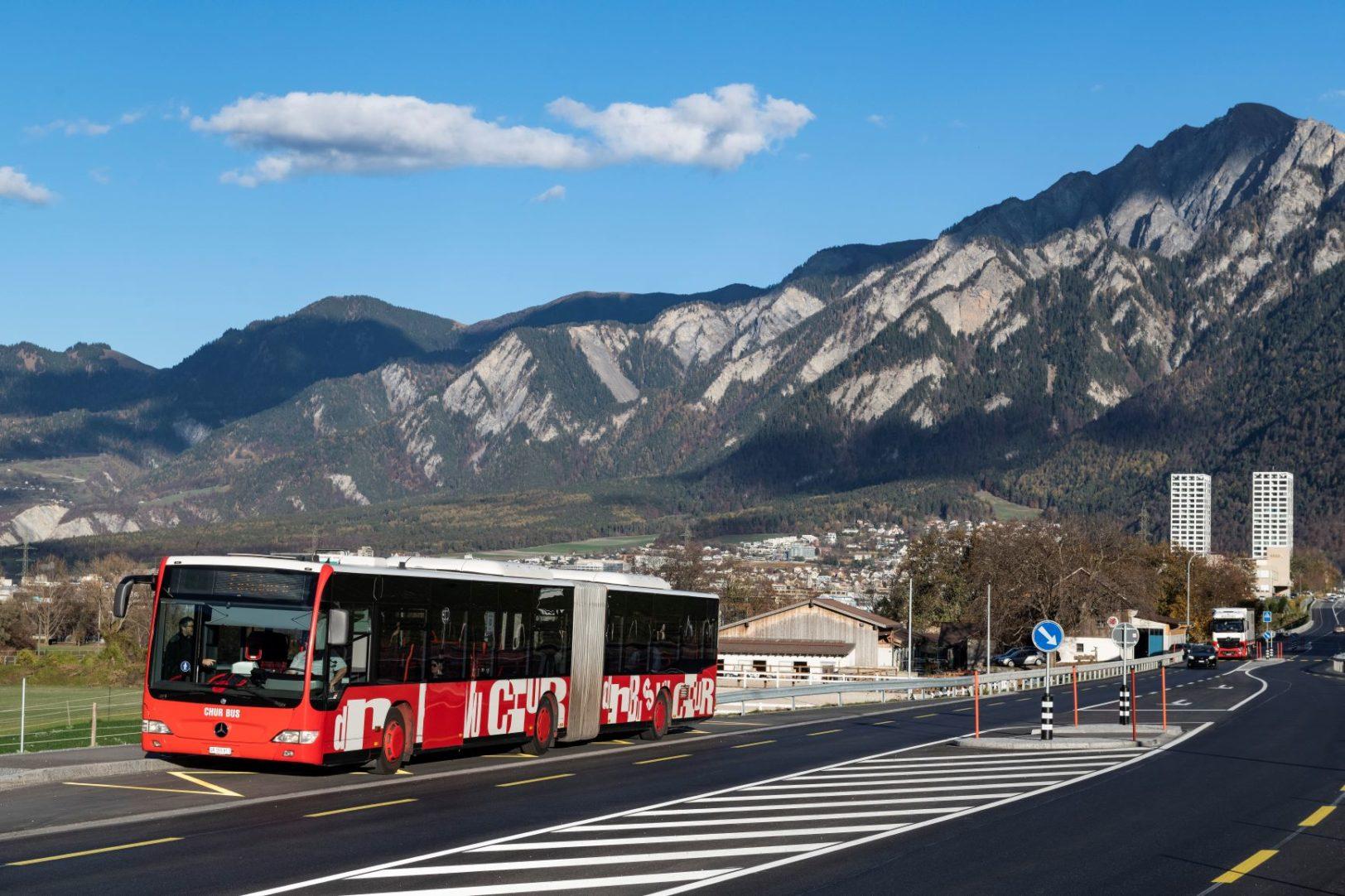 Chur Bus auf der Emserstrasse