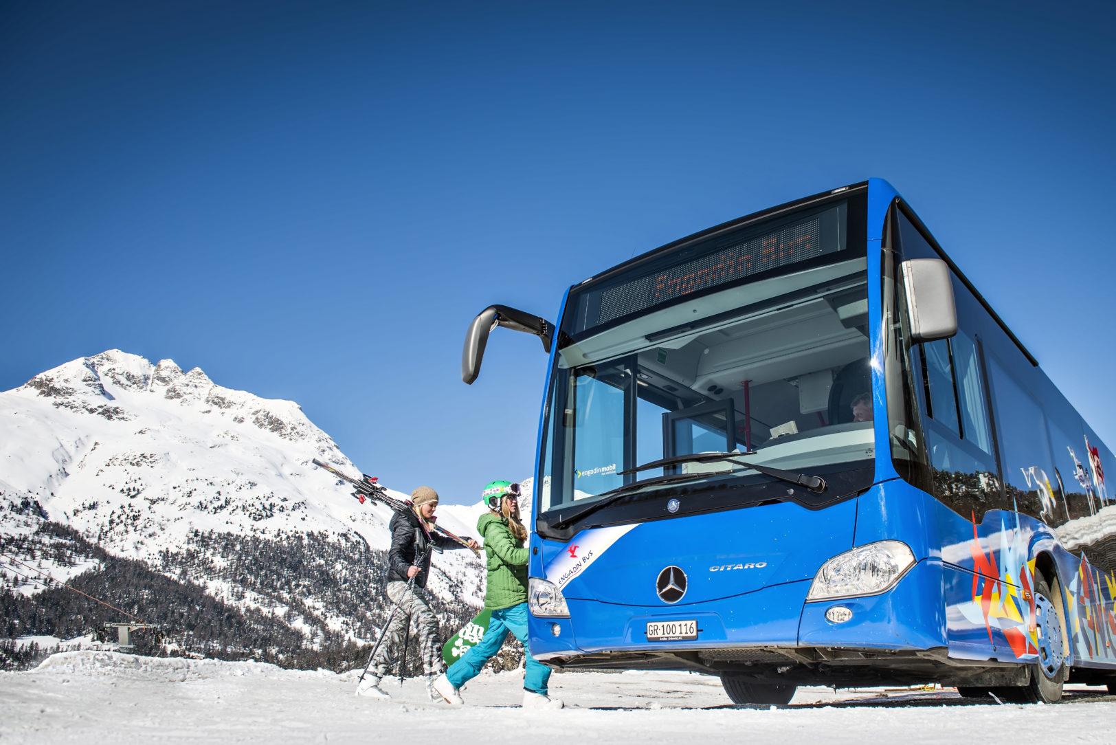 Engadin Bus im Skibetrieb
